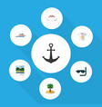 flat icon beach set of boat ship hook recliner vector image vector image
