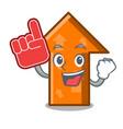 foam finger arrow mascot cartoon style vector image