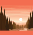 forest path and coast on the background scene vector image