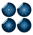 four highly detailed blue snowflake stickers vector image vector image