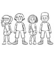 four teenager characters in black and white vector image