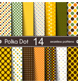 fourteen different round shape polka dot vector image