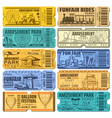 funfair carnival and amusement park tickets vector image