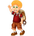 funny backpacker boy in red shirt cartoon vector image vector image