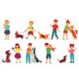 kids playing with dogs child feeding dog pet vector image