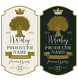 labels for whiskey with crown and oak tree vector image vector image