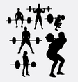 lifting weights sporyt silhouette vector image vector image
