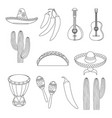 line art black and white 12 mexican elements vector image