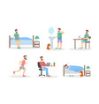 man day routine flat set vector image vector image