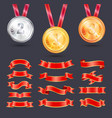 metallic medals with ribbons decoration vector image vector image