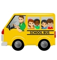 multiracial school kids riding a schoolbus vector image