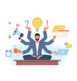 multitasking man businessman with many hands vector image vector image