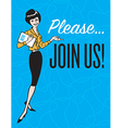 Please Join Us vintage style design vector image vector image