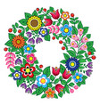 polish folk art floral wreath design vector image