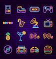 Retro sign neon icons