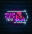 roller skates rent glowing neon sign with guide vector image vector image