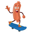 sausage with blue skateboard on white background vector image