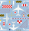 seamless pattern with airplanes and aerodrome vector image