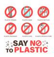 set no plastics sign environmental problem vector image vector image