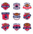 set of american football emblems design element vector image vector image