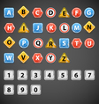 Set of letters of road signs vector image vector image