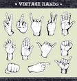 set vintage hands vector image vector image
