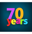 Seventy years paper sign vector image
