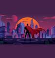 superhero in futuristic city vector image vector image