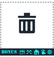 Trash can icon flat vector image vector image