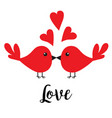 two kissing bird family couple three red heart vector image vector image
