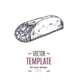 Vintage burrito drawing Hand drawn