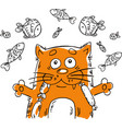 with cartoon cat vector image vector image