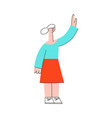 woman waving hand to colleagues vector image vector image