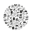 ramadan islam holiday icons set in circle eps10 vector image