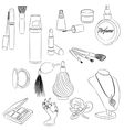 Set of fashion accessories cosmetics perfumes vector image