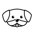 face dog cute tongue out outline vector image