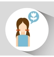 girl with icon vector image