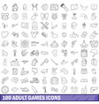 100 adult games icons set outline style vector image vector image