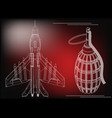 3d model of a fighter and a grenade vector image vector image