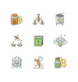 apiculture rgb color icons set vector image