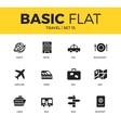 basic set travel icons vector image