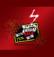black friday sale with 30 off 50 off 75 off vector image