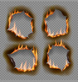 burning holes burn paper with charred edges vector image vector image