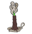 comic cartoon spooky magic candle vector image vector image