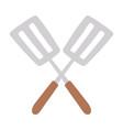 crossed spatulas kitchen utensil steel isolated vector image