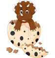 cute baby dinosour egg hatch standing with laugh vector image