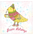 cute cartoon hand drawn Merry Christmas bird vector image vector image