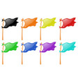 different color flags on wooden stick vector image vector image