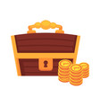 dower wooden chest with lock handle and golden vector image vector image