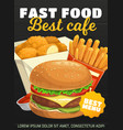 fast food burger french fries and chicken nuggets vector image